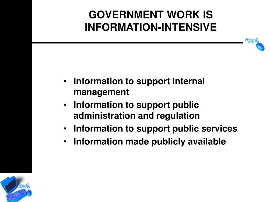 Information to support internal management