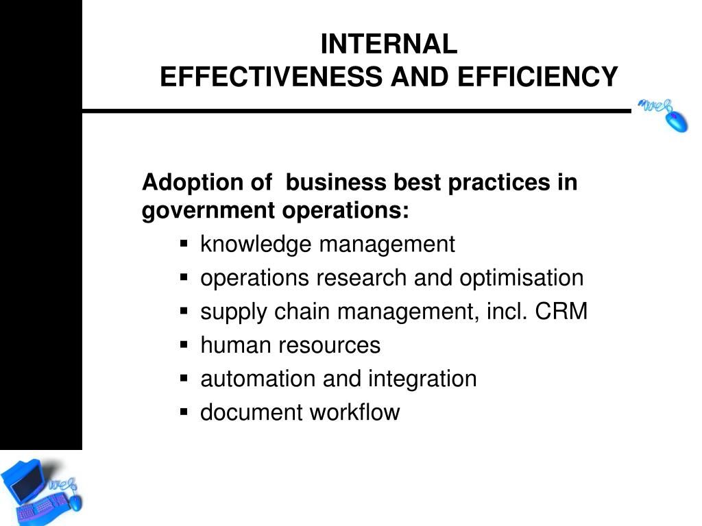 Adoption of  business best practices in government operations: