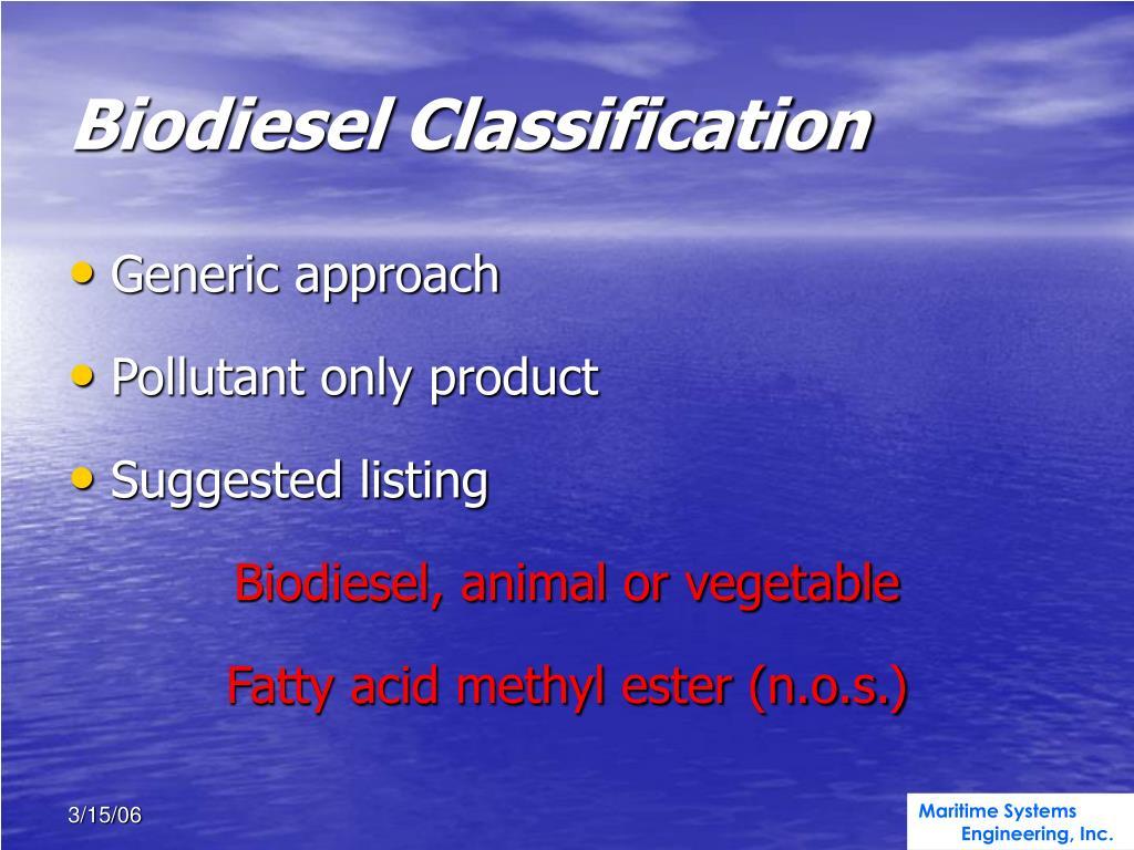 Biodiesel Classification