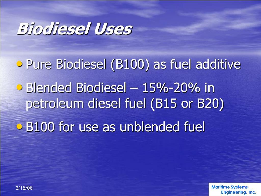 Biodiesel Uses