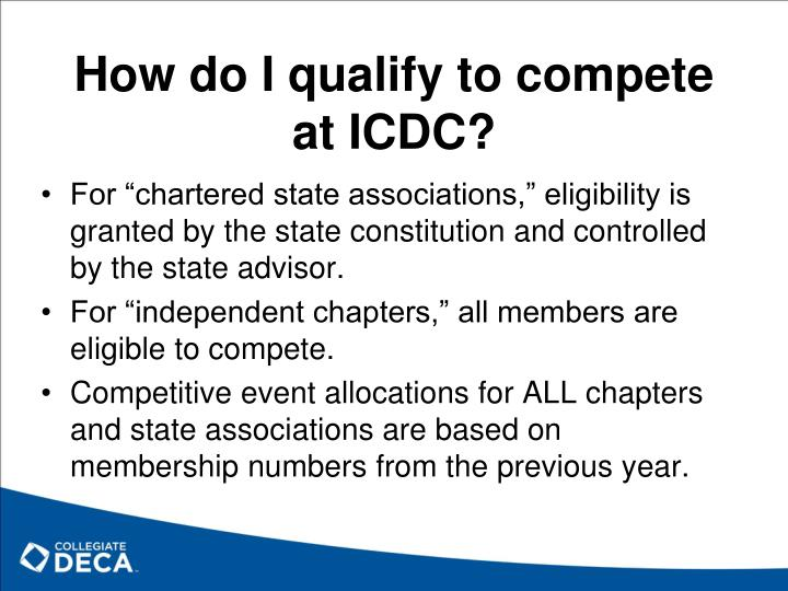 How do I qualify to compete at ICDC?