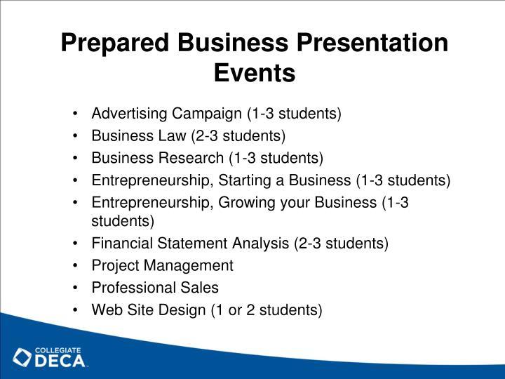 Prepared Business Presentation Events