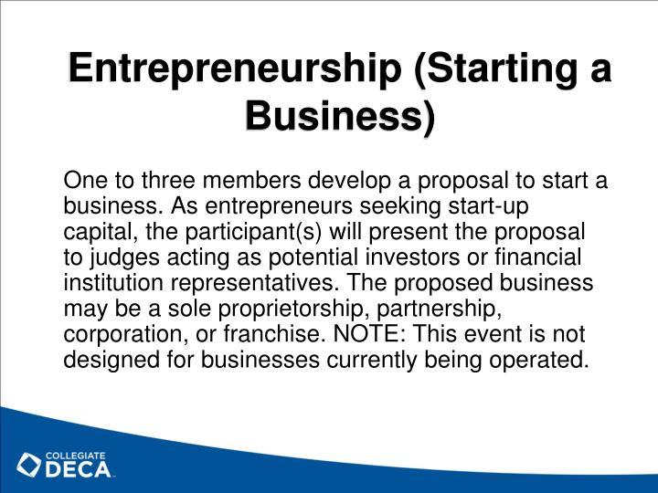 Entrepreneurship (Starting a Business)