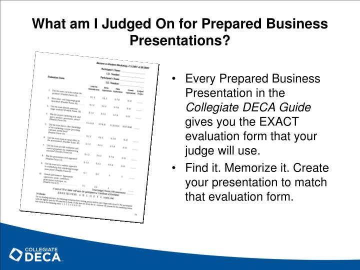 What am I Judged On for Prepared Business Presentations?