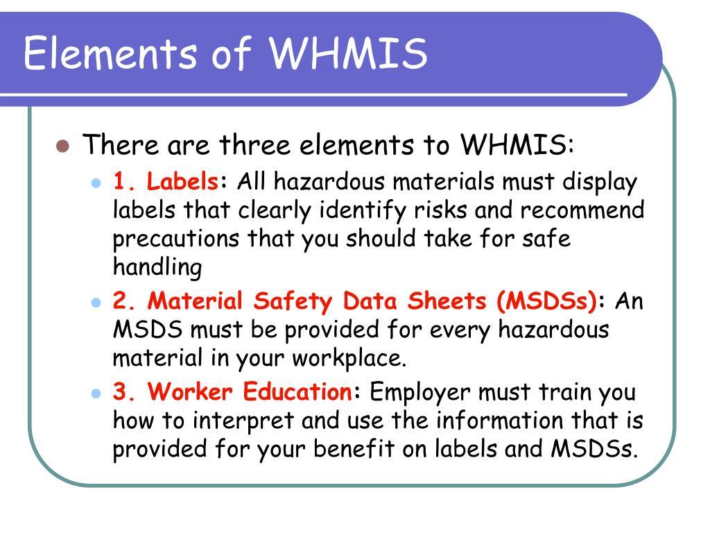 Elements of WHMIS