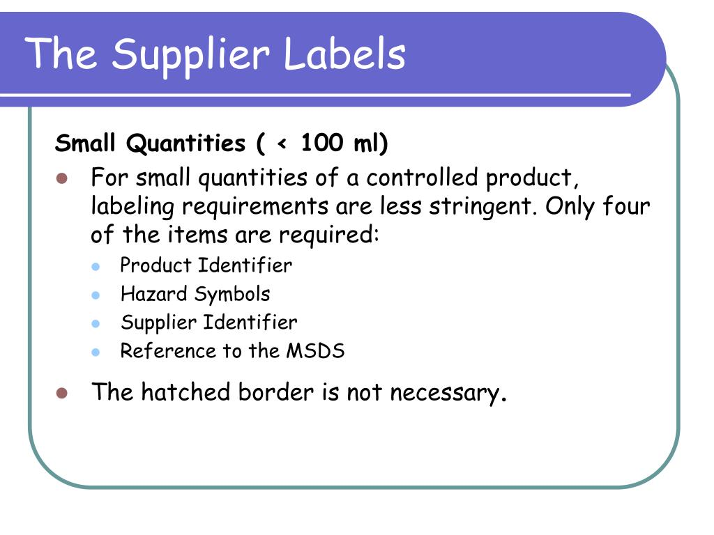 The Supplier Labels