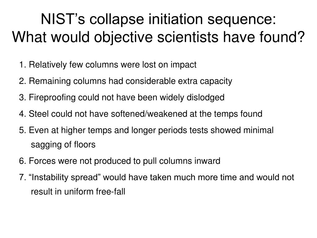 NIST's collapse initiation sequence: