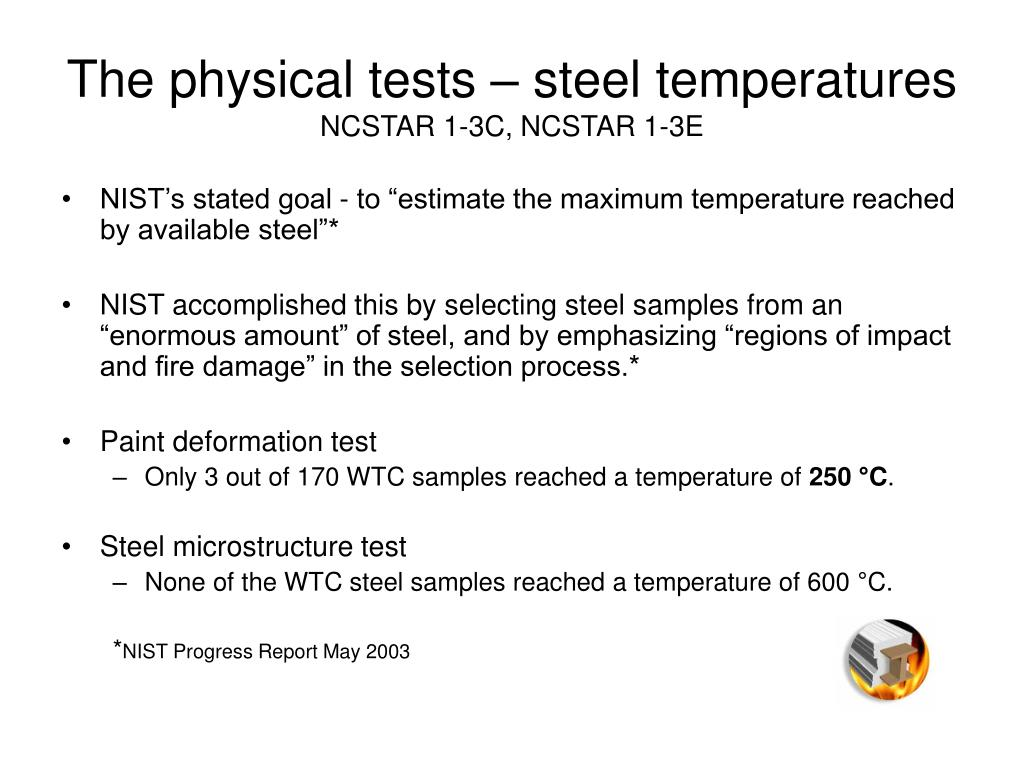 The physical tests – steel temperatures