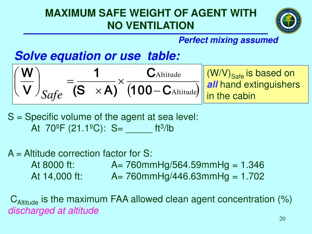 MAXIMUM SAFE WEIGHT OF AGENT WITH                     NO VENTILATION