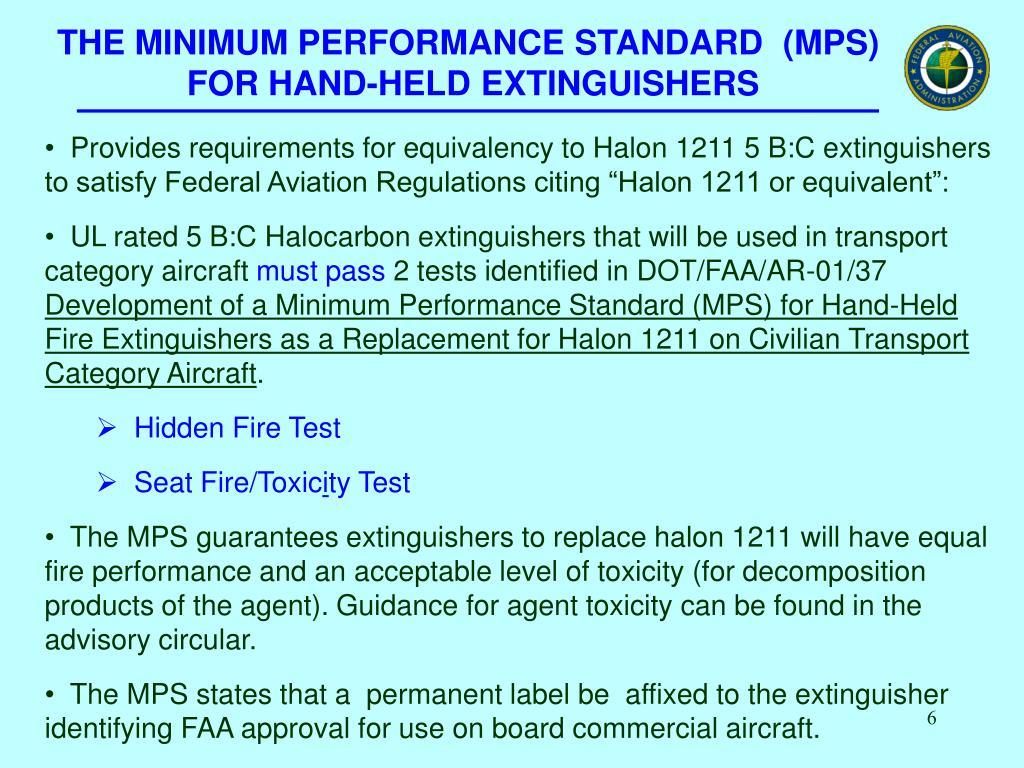THE MINIMUM PERFORMANCE STANDARD  (MPS)