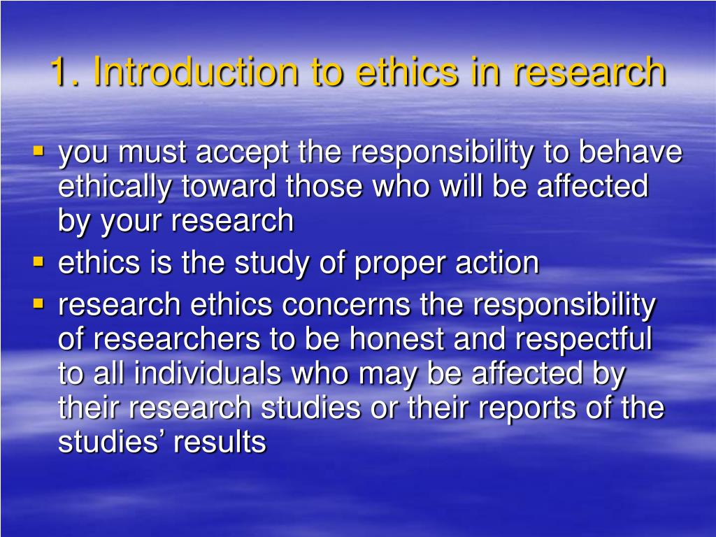 1. Introduction to ethics in research