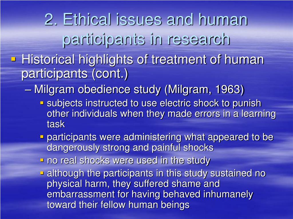 2. Ethical issues and human participants in research