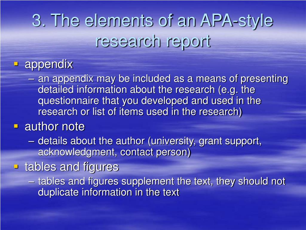 3. The elements of an APA-style research report