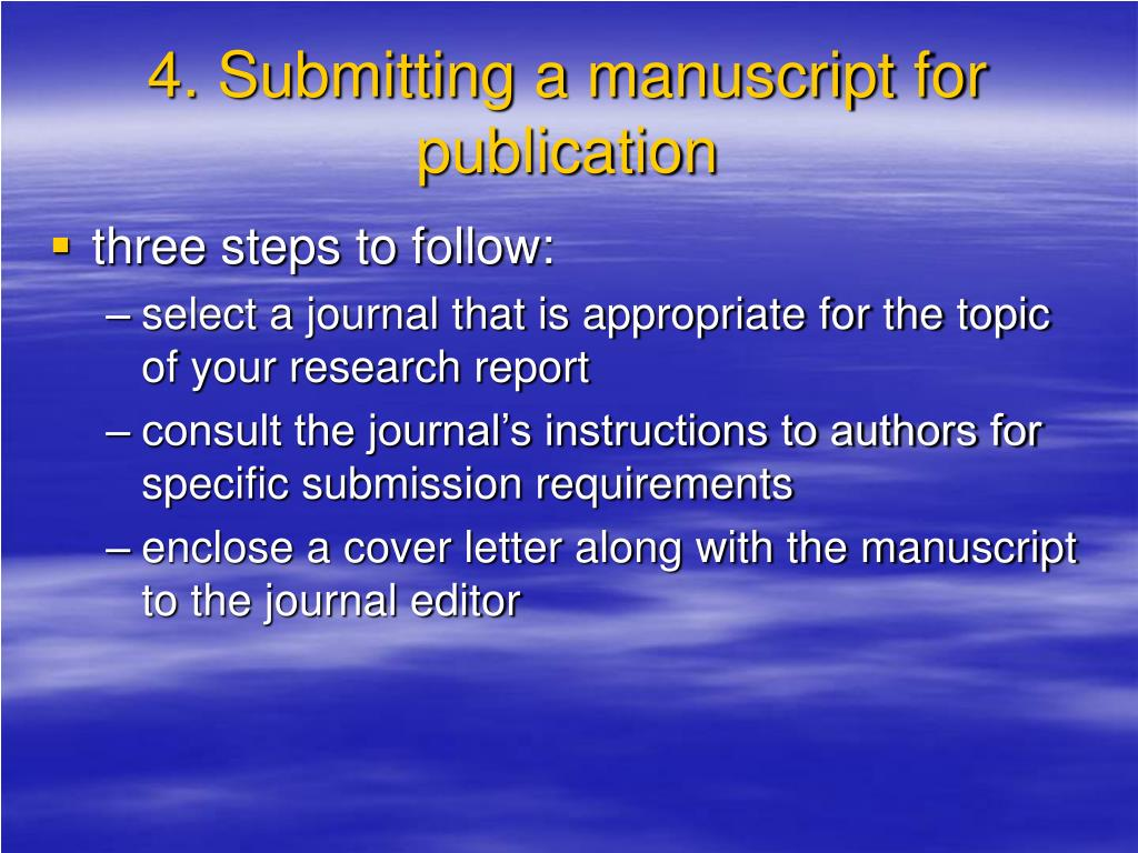4. Submitting a manuscript for publication