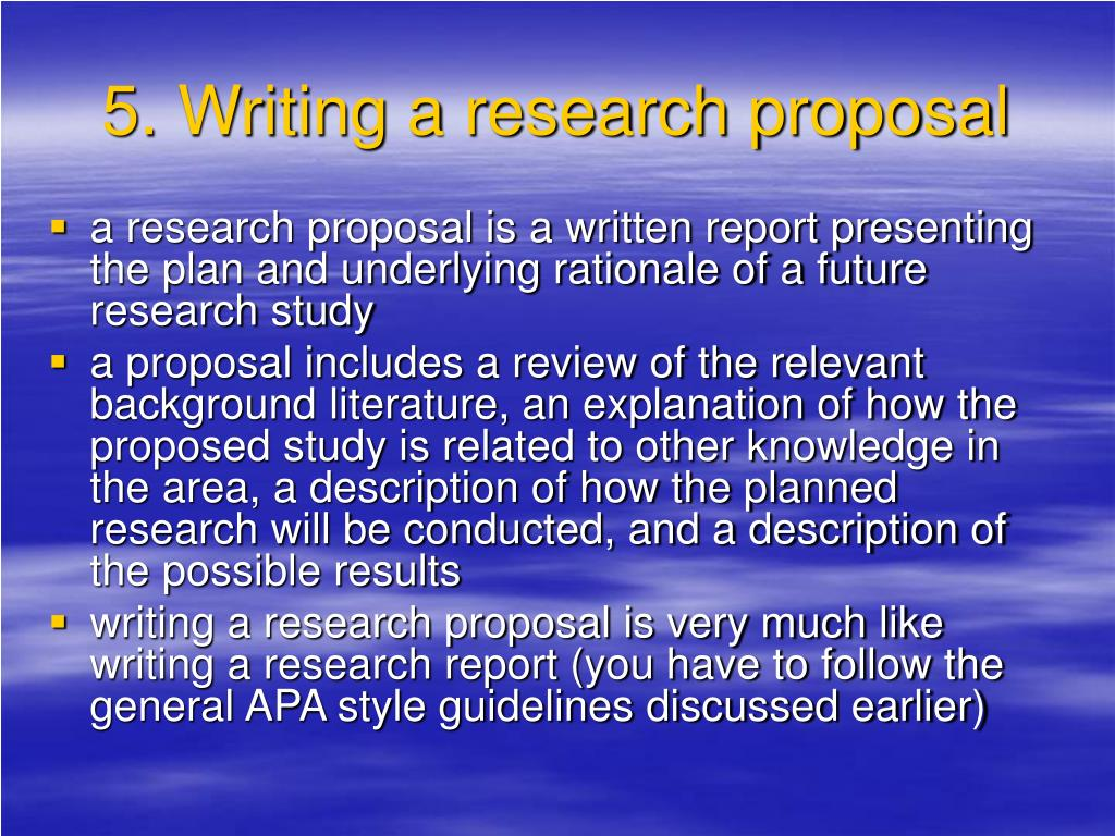 5. Writing a research proposal