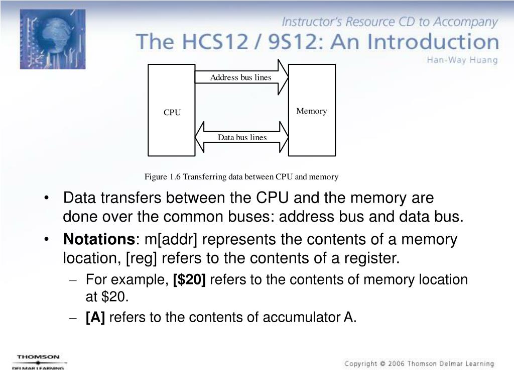 Data transfers between the CPU and the memory are done over the common buses: address bus and data bus.