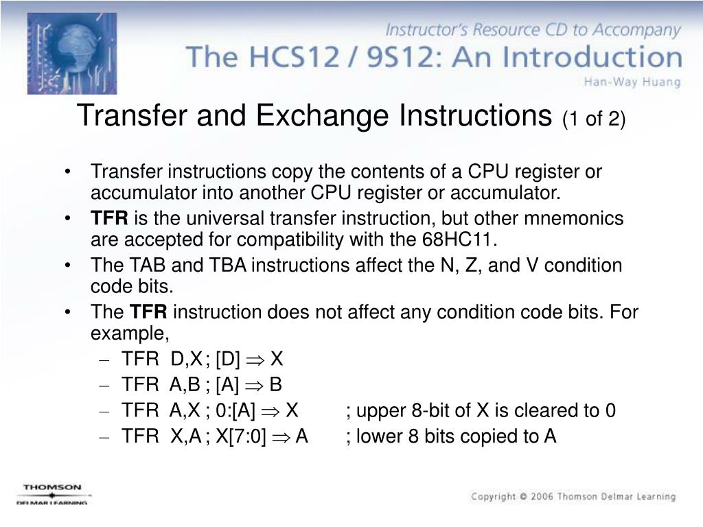 Transfer and Exchange Instructions