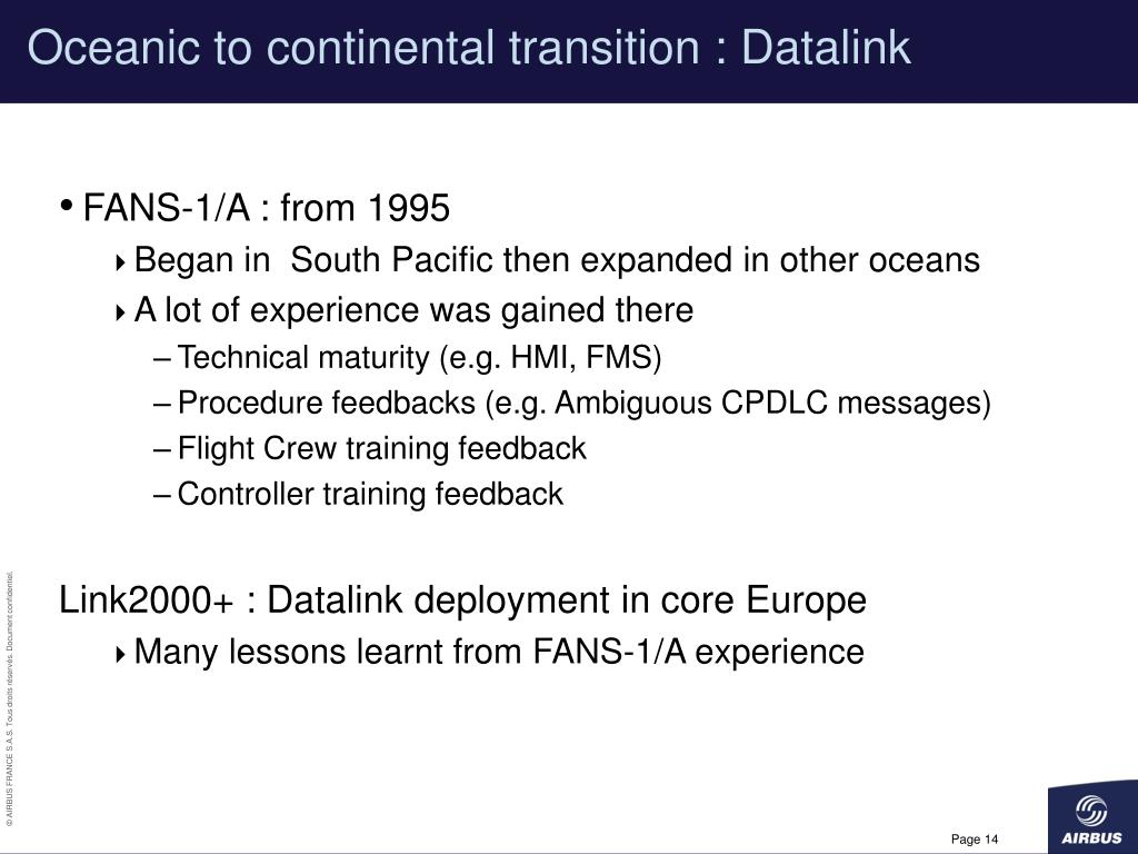 Oceanic to continental transition : Datalink