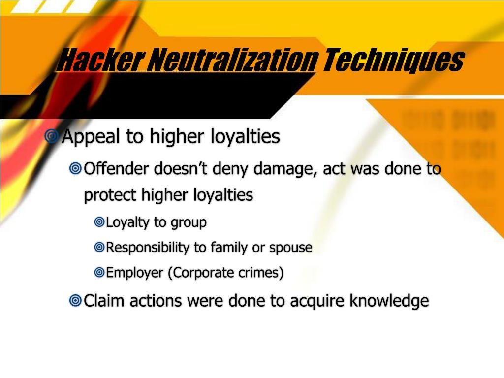 Hacker Neutralization Techniques