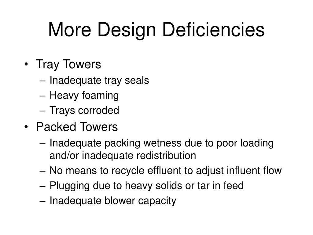 More Design Deficiencies