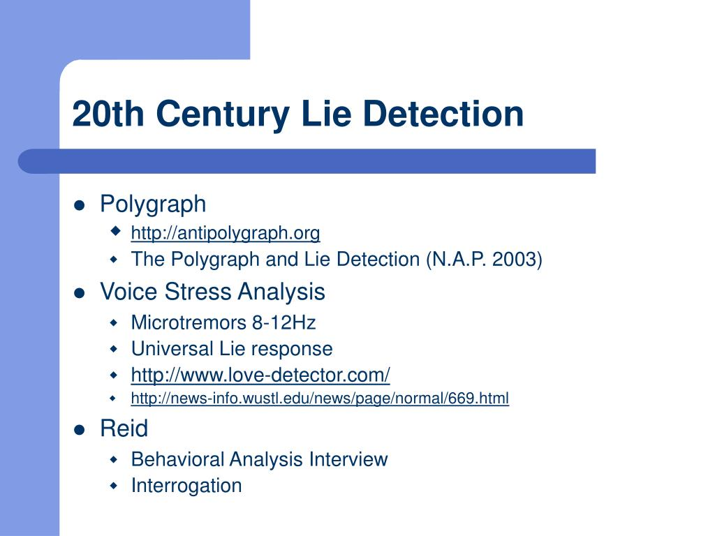20th Century Lie Detection