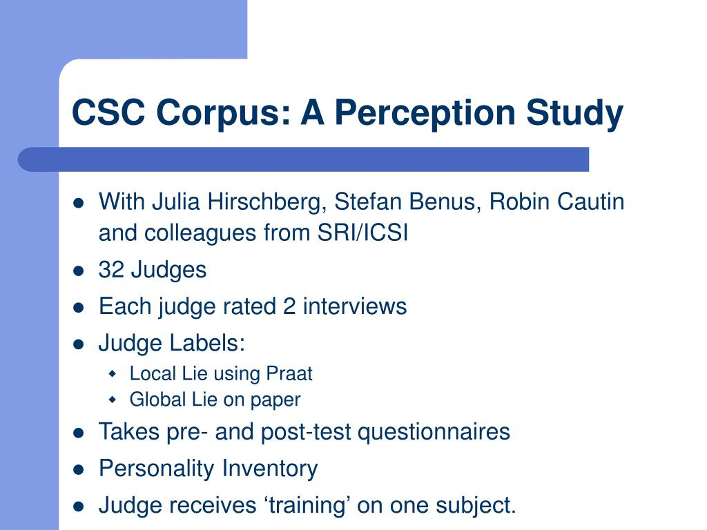 CSC Corpus: A Perception Study