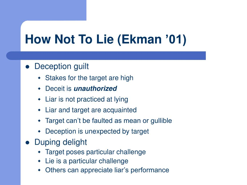 How Not To Lie (Ekman