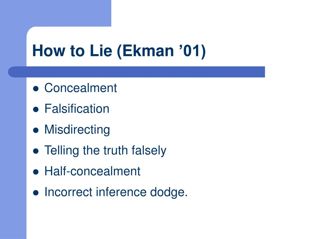 How to Lie (Ekman
