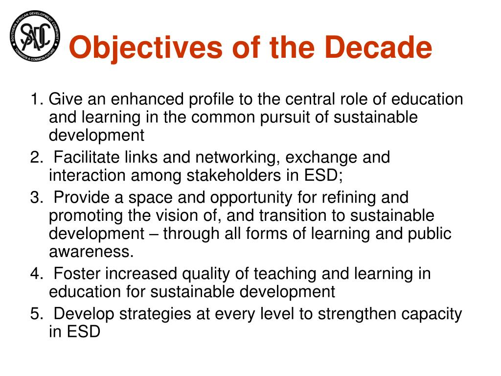 Objectives of the Decade