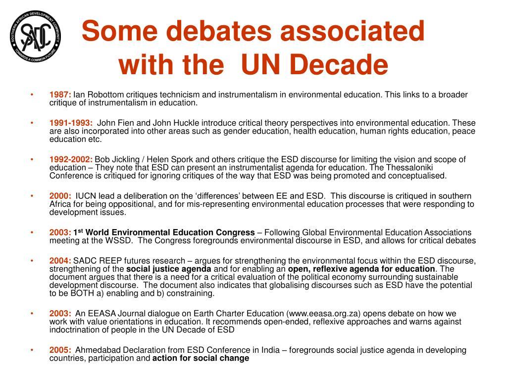 Some debates associated