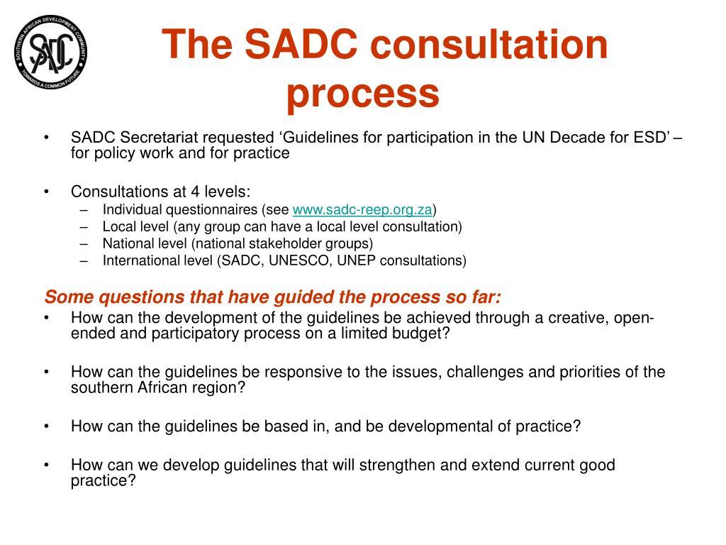 The SADC consultation process