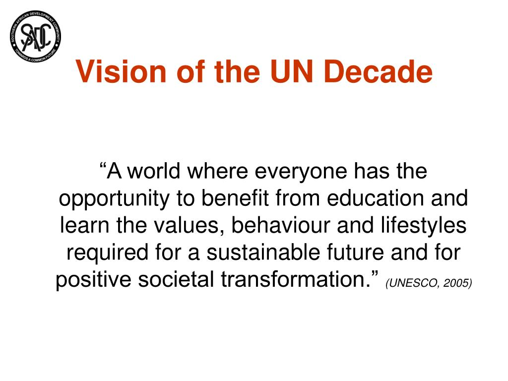 Vision of the UN Decade