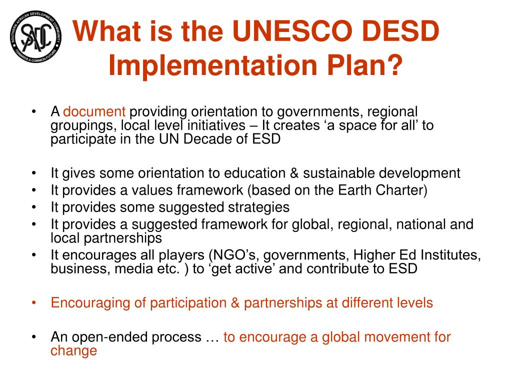What is the UNESCO DESD Implementation Plan?