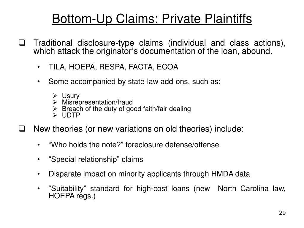 Bottom-Up Claims: Private Plaintiffs