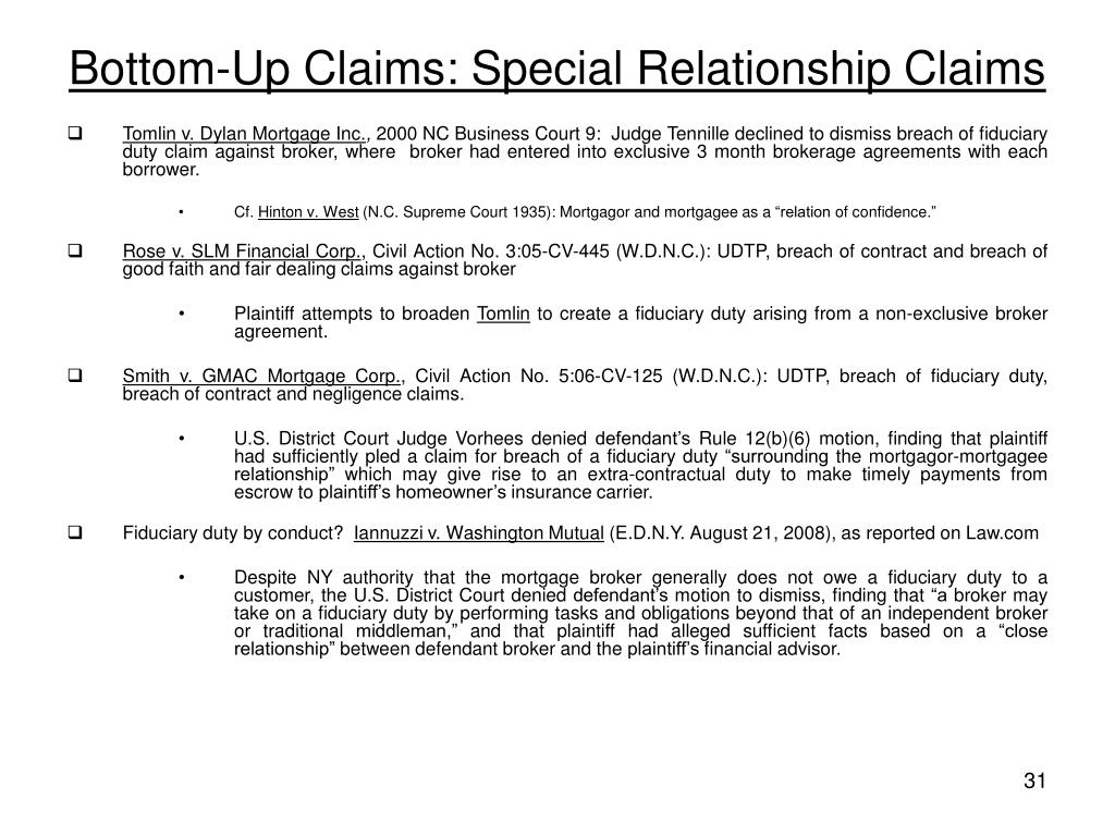 Bottom-Up Claims: Special Relationship Claims