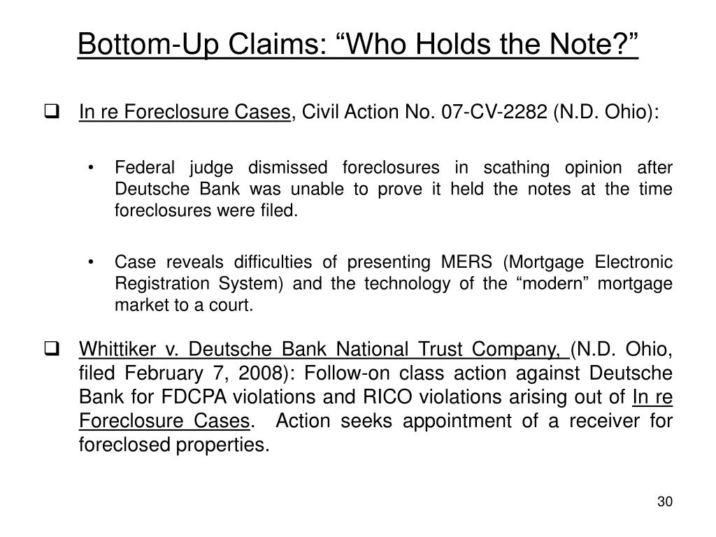 """Bottom-Up Claims: """"Who Holds the Note?"""""""