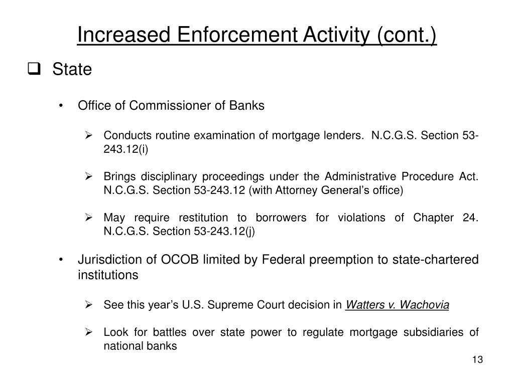 Increased Enforcement Activity (cont.)