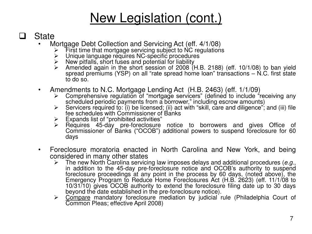 New Legislation (cont.)