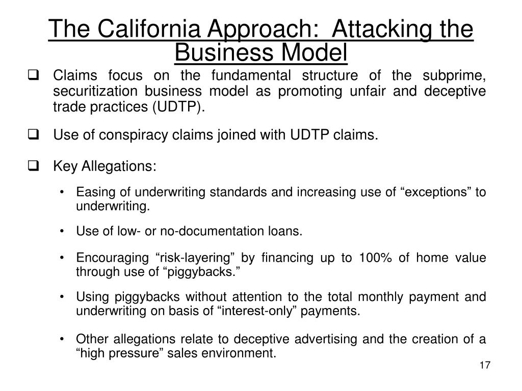 The California Approach:  Attacking the Business Model