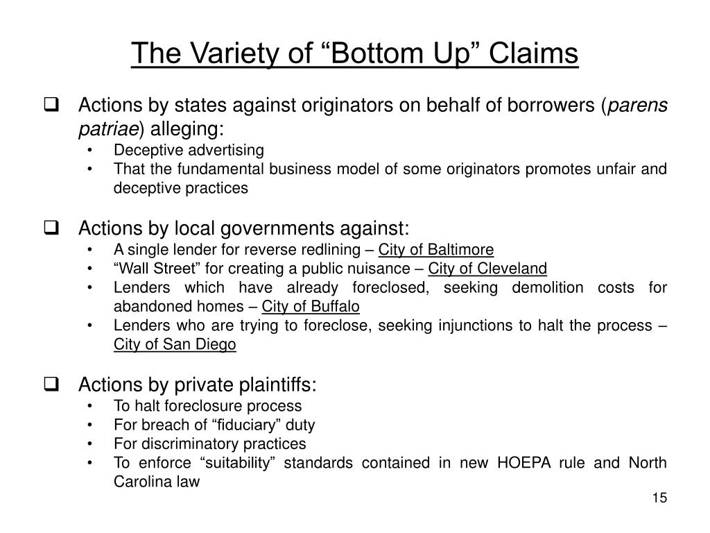 """The Variety of """"Bottom Up"""" Claims"""