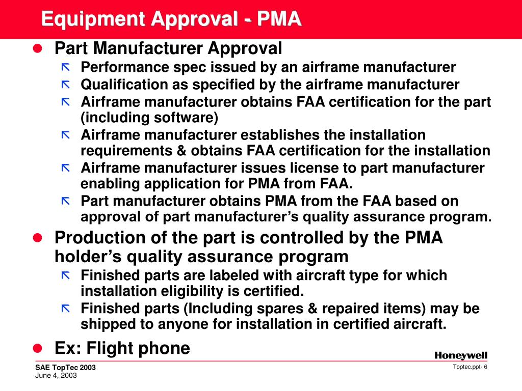 Equipment Approval - PMA