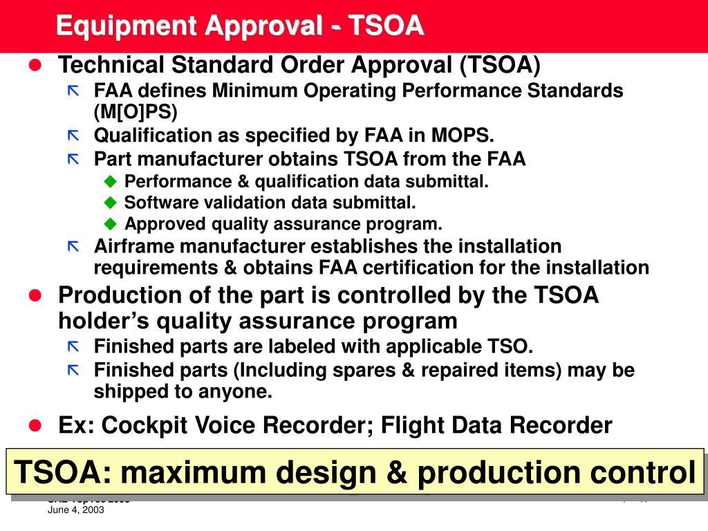 Equipment Approval - TSOA