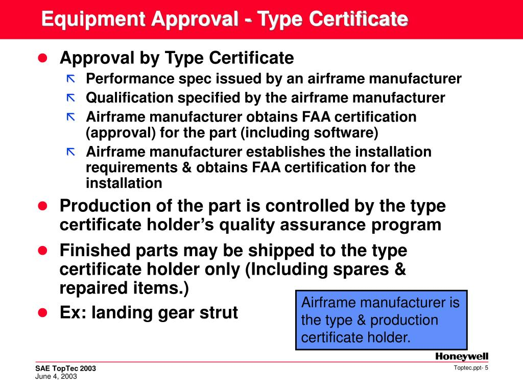 Equipment Approval - Type Certificate