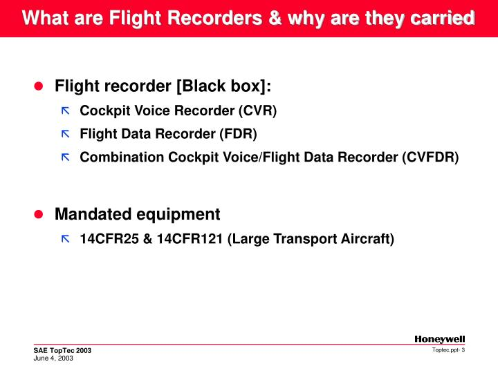 What are flight recorders why are they carried