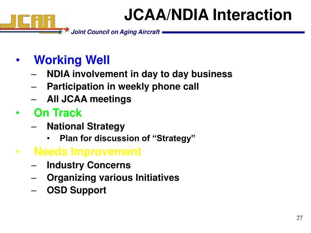 JCAA/NDIA Interaction