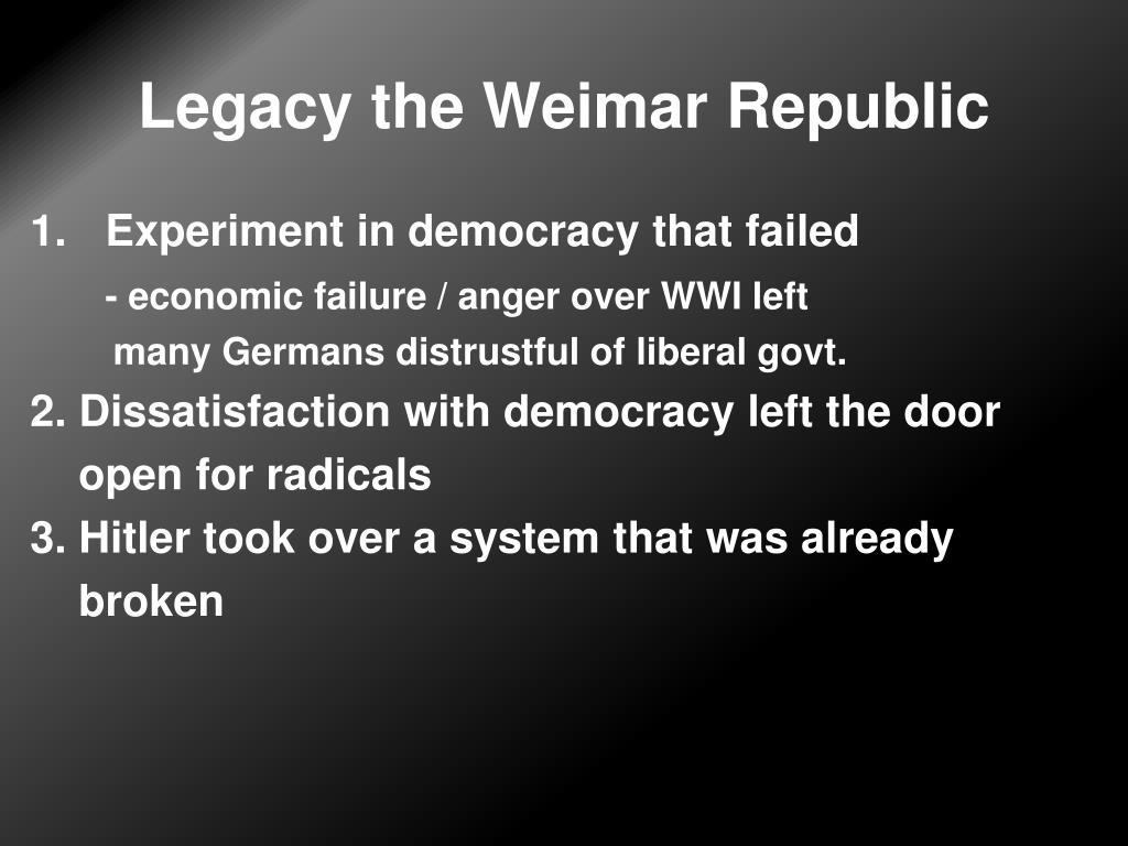 Legacy the Weimar Republic