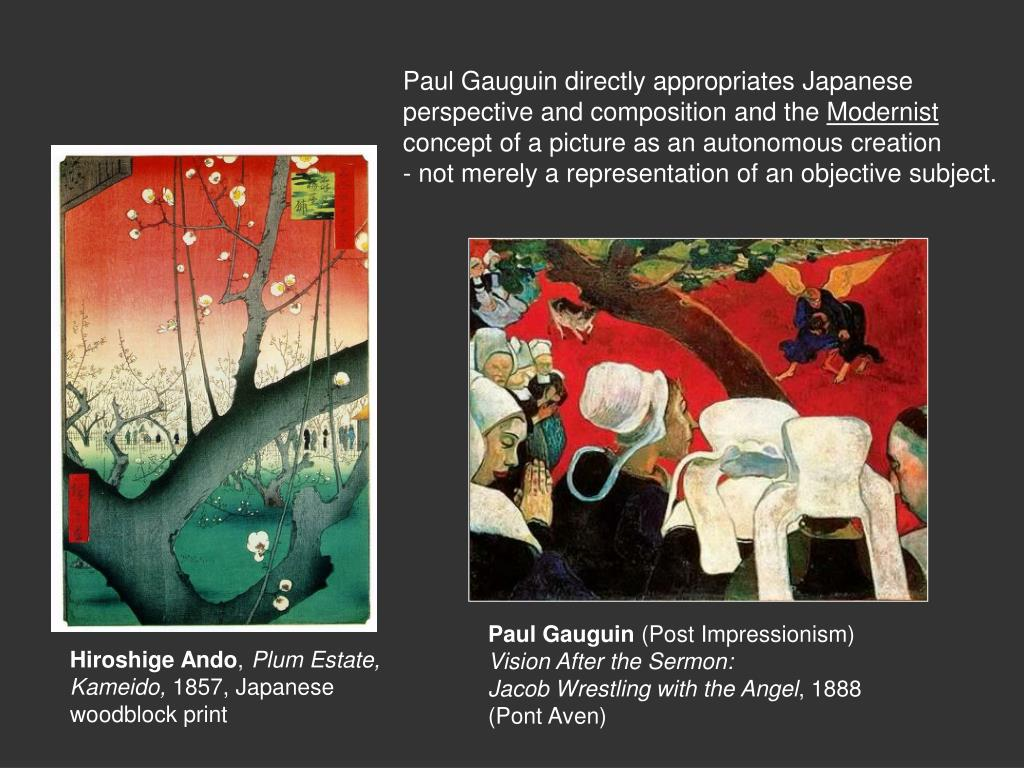 Paul Gauguin directly appropriates Japanese