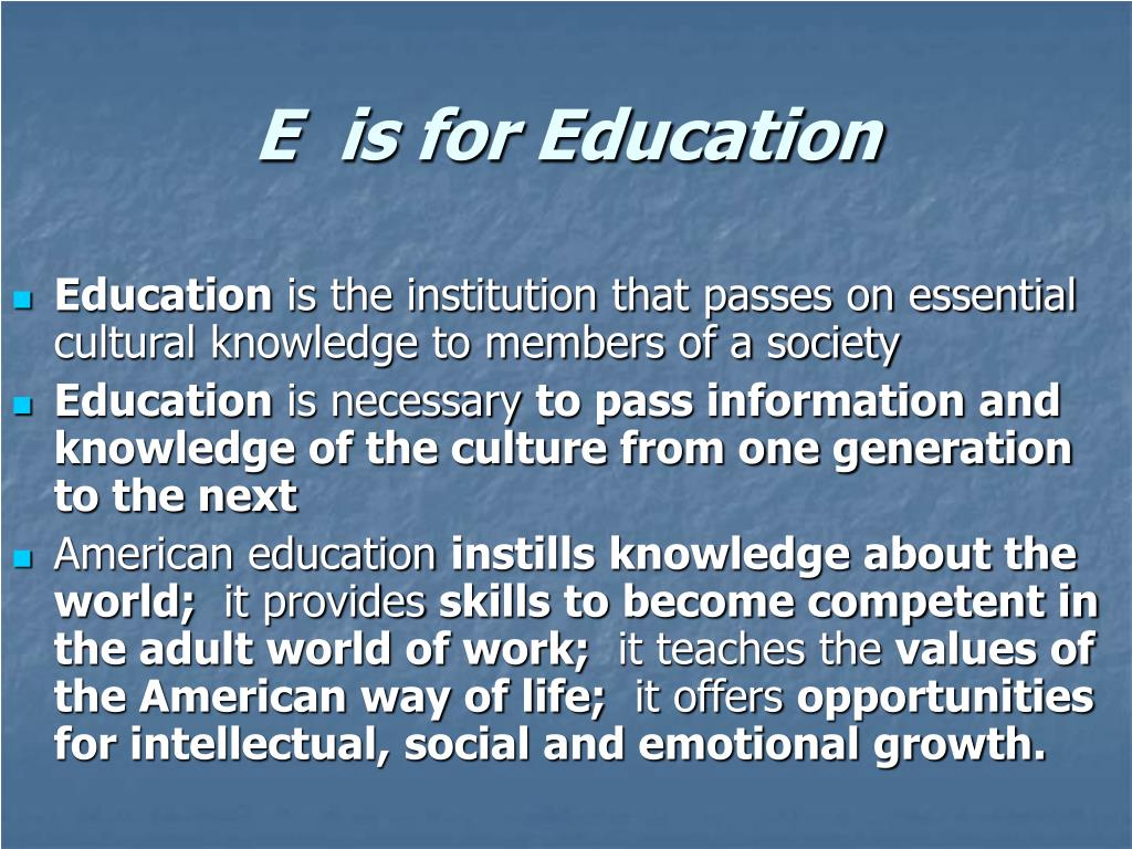 education as a social institution Related wordssynonymslegend: switch to new thesaurus noun 1 educational institution - an institution dedicated to education institution, establishment - an organization founded and united for a specific purpose preschool - an educational institution for children too young for elementary school school - an educational institution the school was founded in 1900 school - an educational.