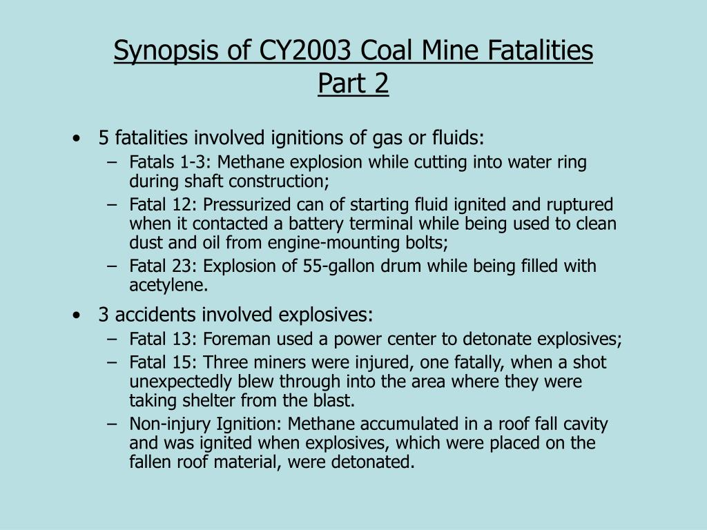 Synopsis of CY2003 Coal Mine Fatalities