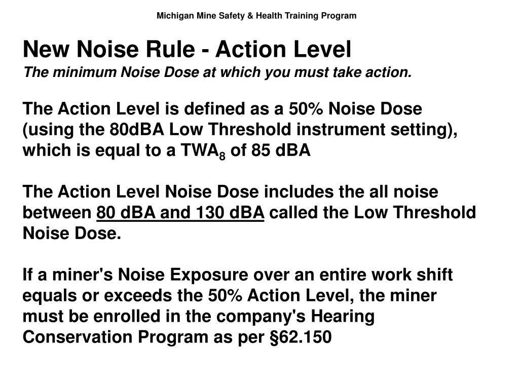 New Noise Rule - Action Level
